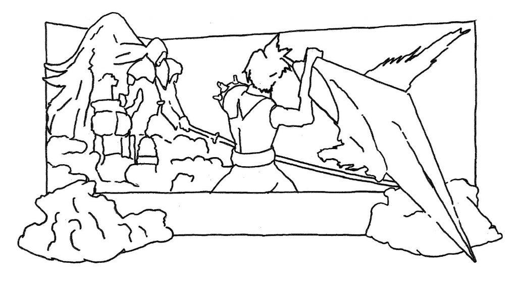 4丁目決戦!雪のファイナルファンタジー図案手書き輪郭
